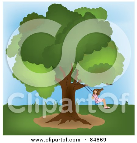 Royalty-Free (RF) Clipart Illustration of a Girl Swinging From A Mature Oak Tree In A Yard by Pams Clipart