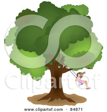 Royalty-Free (RF) Clipart Illustration of a Little Girl Swinging From A Mature Oak Tree by Pams Clipart