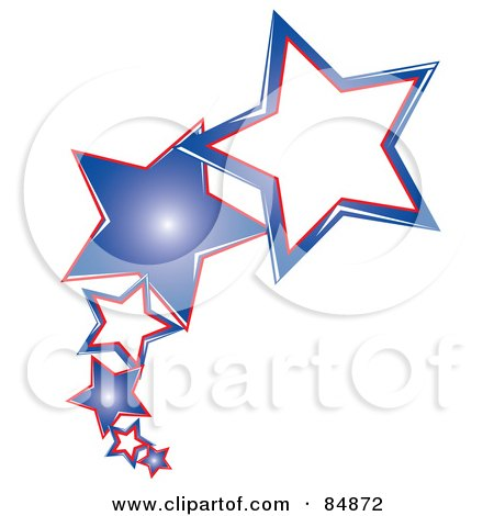 Royalty-Free (RF) Clipart Illustration of a Line Of Shooting American Stars by Pams Clipart