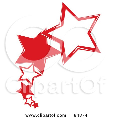 Royalty-Free (RF) Clipart Illustration of a Line Of Shooting Red Stars by Pams Clipart