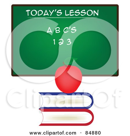 Royalty-Free (RF) Clipart Illustration of a Chalkboard With Todays Lesson Written On It, With An Apple On A Stack Of Books by Pams Clipart