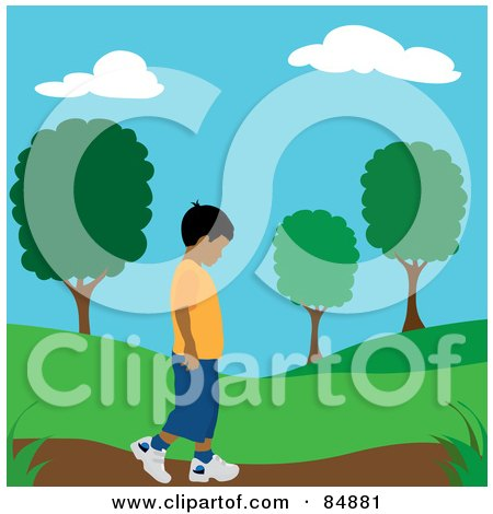 Royalty-Free (RF) Clipart Illustration of a Lonely Hispanic Boy Walking On A Park Path by Pams Clipart