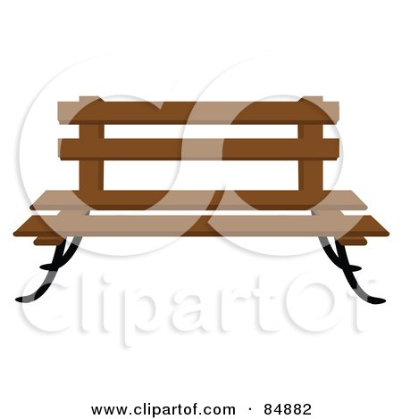 Royalty-Free (RF) Clipart Illustration of a Wooden Park Bench With Iron Legs by Pams Clipart
