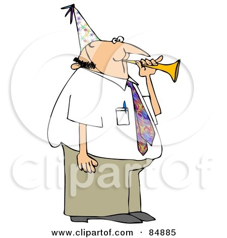 Royalty-Free (RF) Clipart Illustration of a Caucasian Businessman Blowing A Party Horn And Wearing A Hat by djart