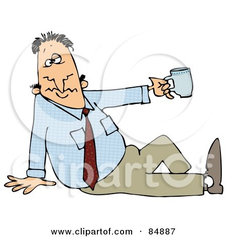 Royalty-Free (RF) Clipart Illustration of a Businessman Sitting On The Ground And Holding Up A Tea Cup by djart