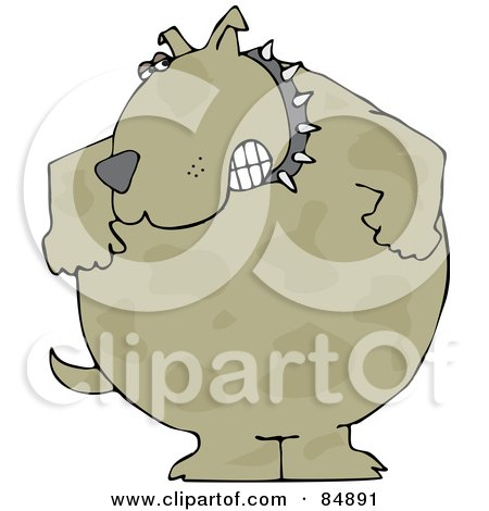 Royalty-Free (RF) Clipart Illustration of an Aggressive Brown Dog Wearing A Spiked Collar And Gritting His Teeth by djart