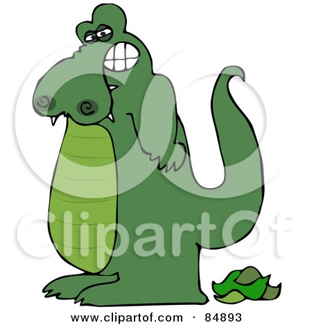 Royalty-Free (RF) Clipart Illustration of a Green Alligator Standing Over His Poop by djart
