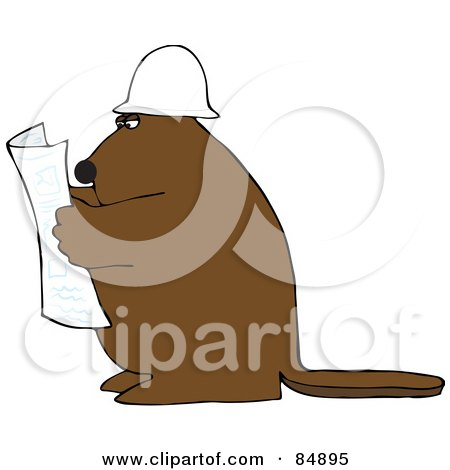Royalty-Free (RF) Clipart Illustration of a Big Brown Beaver Reading Blueprints And Wearing A Hardhat by djart