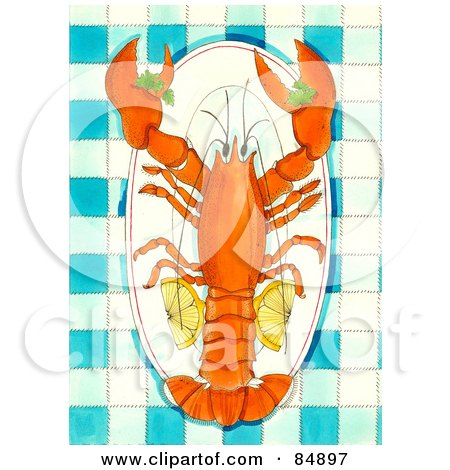 Royalty-Free (RF) Clipart Illustration of a Lobster Served On A Platter With Lemon Slices, Over Blue Gingham Tablecloth by Maria Bell