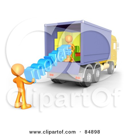 Royalty-Free (RF) Clipart Illustration of Two 3d Orange People Carrying The Word Movers Out Of A Truck by 3poD