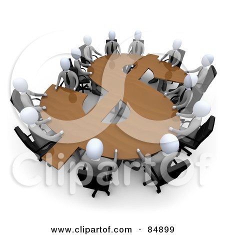 Royalty-Free (RF) Clipart Illustration of 3d White Business People In A Meeting Around A Wooden Dollar Shaped Table by 3poD