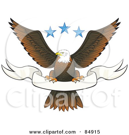 Royalty-Free (RF) Clipart Illustration of a Bald Eagle Perched On A Blank White Banner Under Three Blue Stars by Paulo Resende