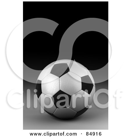 Royalty-Free (RF) Clipart Illustration of a 3d Rendered Black And White Soccer Ball On A Dark Background by stockillustrations
