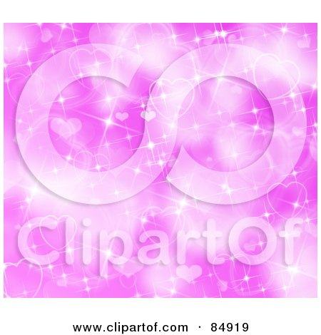 Royalty-Free (RF) Clipart Illustration of a Glittery And Sparkly Pink Heart Background by MacX