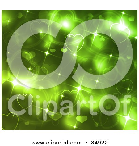 Royalty-Free (RF) Clipart Illustration of a Glittery And Sparkly Green Heart Background by MacX