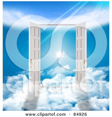 Royalty-Free (RF) Clipart Illustration of Two 3d French Doors On Clouds, Opening To A Flare In The Heavens by MacX