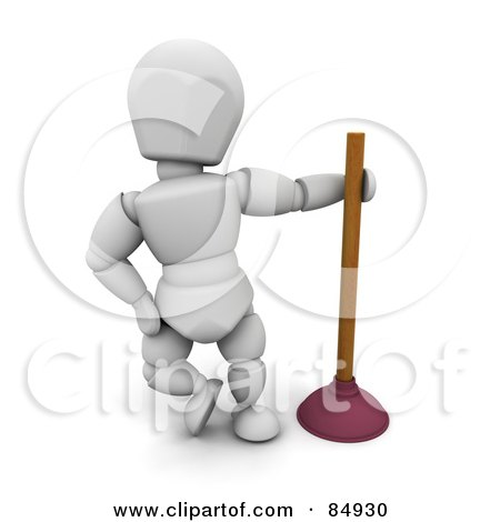 Royalty-Free (RF) Clipart Illustration of a 3d White Character Leaning By A Toilet Plunger by KJ Pargeter