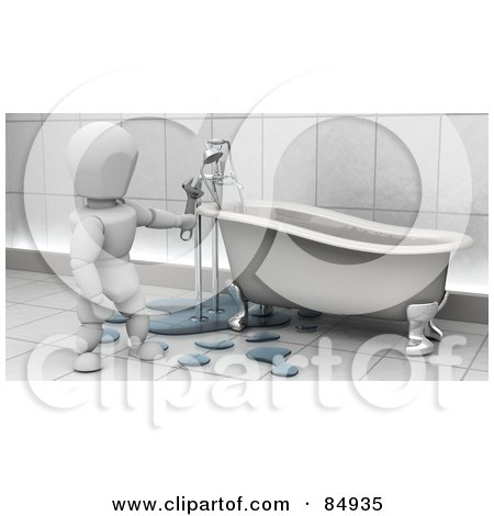 Royalty-Free (RF) Clipart Illustration of a 3d White Character Plumber Fixing Claw Foot Tub Pipes by KJ Pargeter