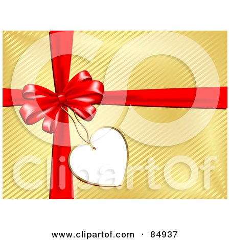 Royalty-Free (RF) Clipart Illustration of a Blank Heart Gift Tag Attached To A Bow And Ribbons Over Golden Gift Wrap by KJ Pargeter
