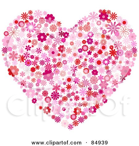 Royalty-Free (RF) Clipart Illustration of a Floral Heart Of Red And Pink Flowers by KJ Pargeter