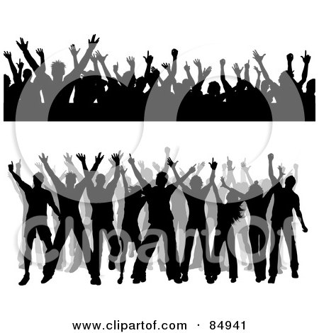 Royalty-Free (RF) Clipart Illustration of a Digital Collage Of Silhouetted Dancing People Borders by KJ Pargeter