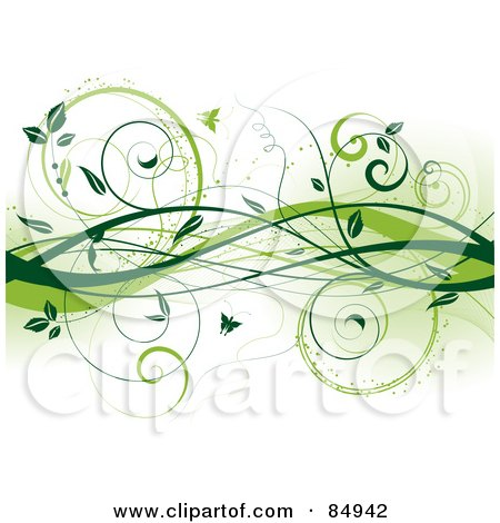 Royalty-Free (RF) Clipart Illustration of a Background Of Green Vines And Butterflies by KJ Pargeter
