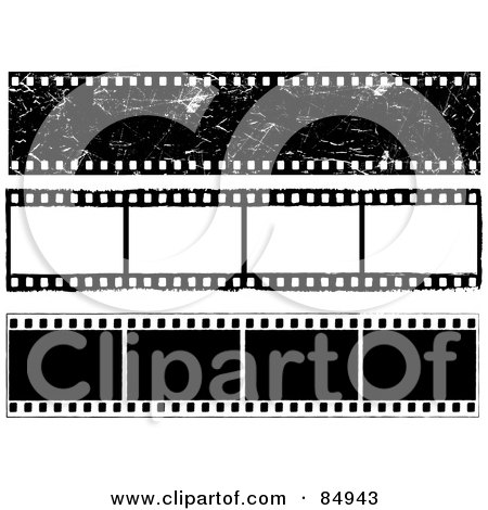 Royalty-Free (RF) Clipart Illustration of a Digital Collage Of Three Film Strips With Blank Frames by KJ Pargeter
