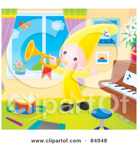 Royalty-Free (RF) Clipart Illustration of a Happy Little Elf Playing A Horn By A Window Of A Music Room by Alex Bannykh