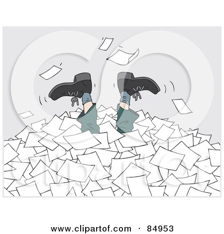 Royalty-Free (RF) Clipart Illustration of a Businessman's Legs Sticking Up Out Of A Pile Of Applications Or Paperwork by Alex Bannykh