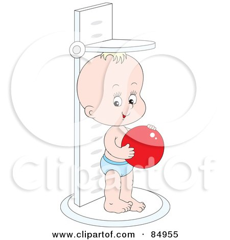 Royalty-Free (RF) Clipart Illustration of a Happy Little Baby Holding A Red Ball And Standing On A Height Scale by Alex Bannykh