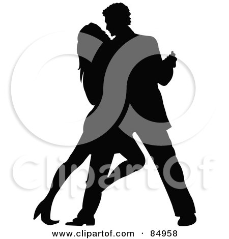 Royalty-Free (RF) Clipart Illustration of a Tango Dancing Couple In Silhouette - Pose 5 by Pushkin