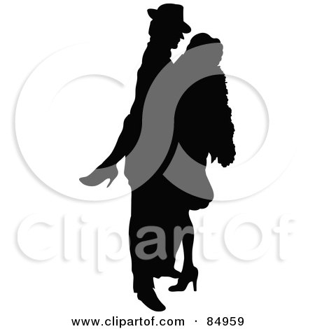 Royalty-Free (RF) Clipart Illustration of a Tango Dancing Couple In Silhouette - Pose 4 by Pushkin