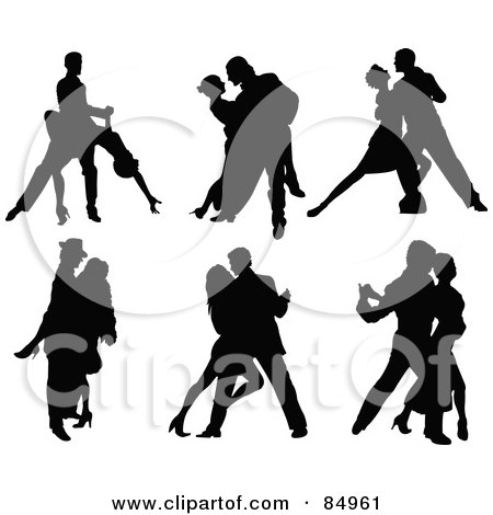 Royalty-Free (RF) Clipart Illustration of a Digital Collage Of Tango Dancing Couples In Silhouette by Pushkin