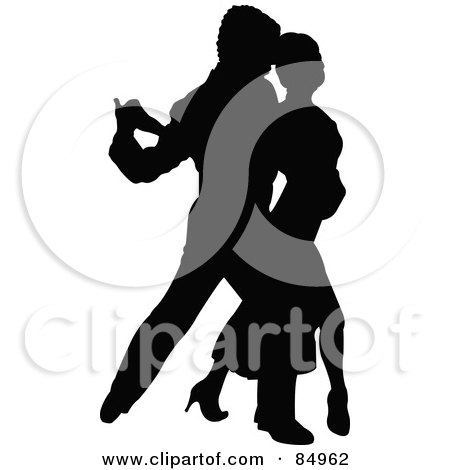 Royalty-Free (RF) Clipart Illustration of a Tango Dancing Couple In Silhouette - Pose 6 by Pushkin