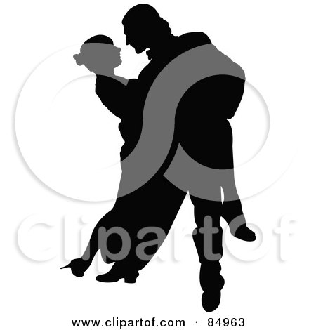 Royalty-Free (RF) Clipart Illustration of a Tango Dancing Couple In Silhouette - Pose 2 by Pushkin
