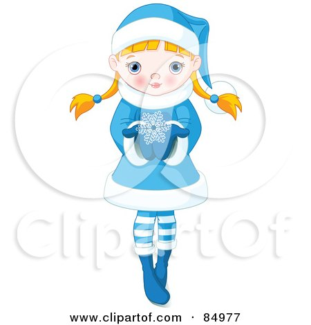 Royalty-Free (RF) Clipart Illustration of a Blond Caucasian Girl Holding A Large Snowflake In Her Hands by Pushkin