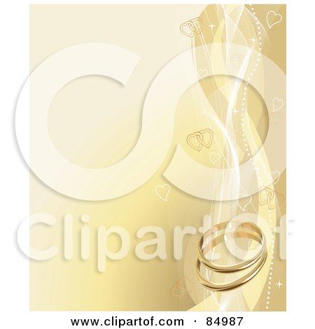 Royalty-Free (RF) Clipart Illustration of an Elegant Golden Wedding Background With Heart Waves And Wedding Bands by Pushkin