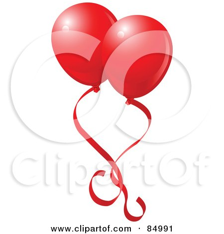 Royalty-Free (RF) Clipart Illustration of Two Red Valentines Day Balloons With Red Ribbons by Pushkin