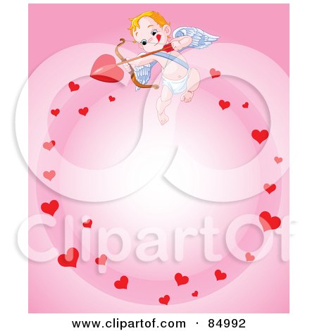 Royalty-Free (RF) Clipart Illustration of a Cupid In A Circle Of Hearts On Pink by Pushkin