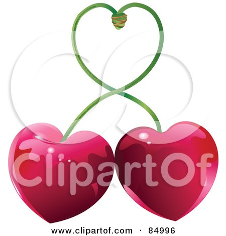 Royalty-Free (RF) Clipart Illustration of Two Heart Shaped Cherries With Their Stems Forming A Heart by Pushkin