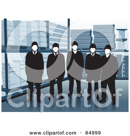 Royalty-Free (RF) Clipart Illustration of a Group Of Five Warehouse Workers Standing By Shelves by David Rey
