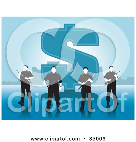 Royalty-Free (RF) Clipart Illustration of a Team Of Security Guards Standing In Front Of A Large Dollar Symbol by David Rey