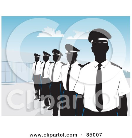 Royalty-Free (RF) Clipart Illustration of a Line Of Security Guards Standing Proud By A Building Under A Blue Sky by David Rey