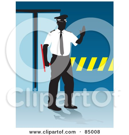 Royalty-Free (RF) Clipart Illustration of a Faceless Security Guard Holding His Hand Up And Standing By A Doorway by David Rey