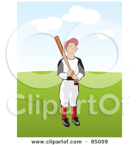 Royalty-Free (RF) Clipart Illustration of a Little League Baseball Boy Holding A Bat On A Green Field by David Rey
