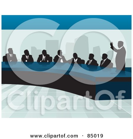 Royalty-Free (RF) Clipart Illustration of a Corporate Business Team Discussing At A Table In An Office by David Rey