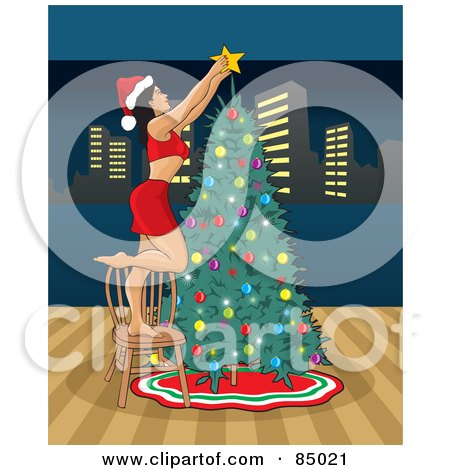 Royalty-Free (RF) Clipart Illustration of a Sexy Christmas Woman Putting The Star On Top Of Her Christmas Tree, With A View Of The City by David Rey