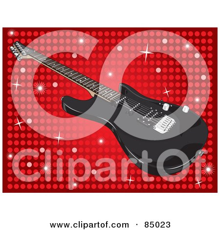 Royalty-Free (RF) Clipart Illustration of a Shiny Black Guitar Over A Sparkly Red Dot Background by David Rey