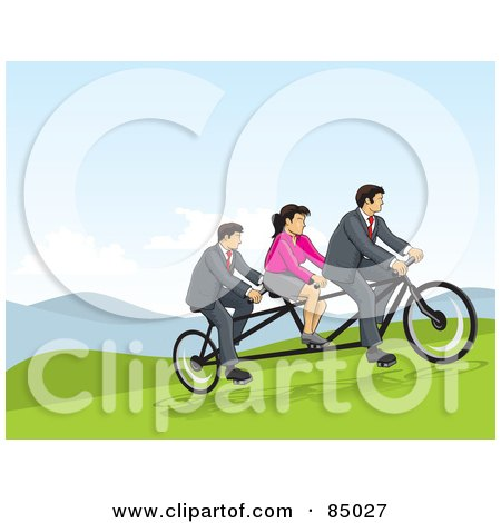 Royalty-Free (RF) Clipart Illustration of Two Businessmen And A Woman Riding A Tandem Bicycle On A Hill by David Rey