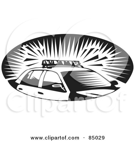 Royalty-Free (RF) Clipart Illustration of a Black And White Oval Scene Of A Police Car With Sirens Flashing by David Rey